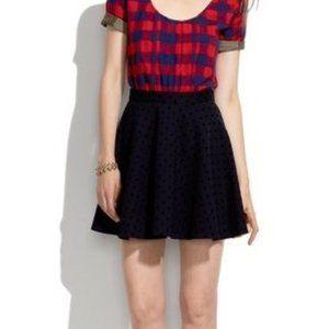 Madewell Velvet Dot Circle Skater Mini Skirt